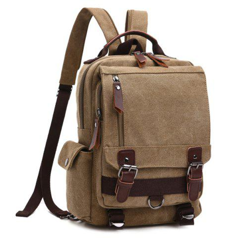 Shop Double Buckle Pocket Zippers Backpack - KHAKI  Mobile