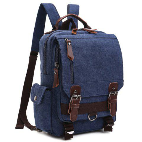 Fashion Double Buckle Pocket Zippers Backpack - DEEP BLUE  Mobile