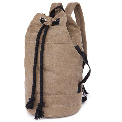 Outfits Zipper Drawstring Canvas Backpack