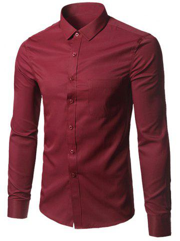 Hot Plus Size Pocket Business Shirt BURGUNDY 5XL