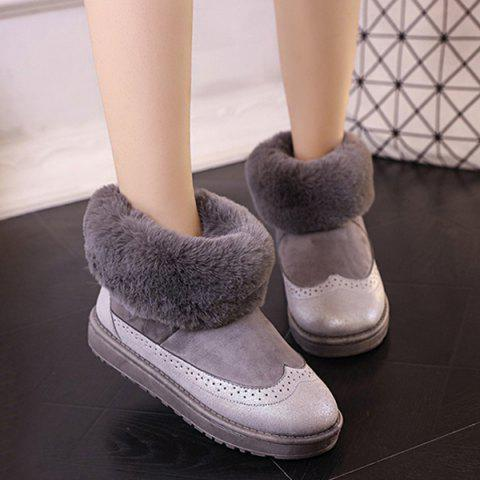 Hot PU Leather Panel Engraving Furry Snow Boots