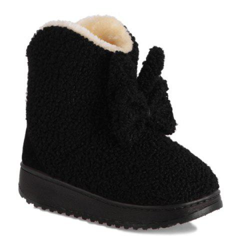 Bowkont Platform Flocking Snow Boots - Black - Size(35-36)