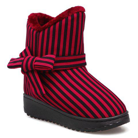 Platform Bowknot Striped Snow Boots - Red - Size(39-40)