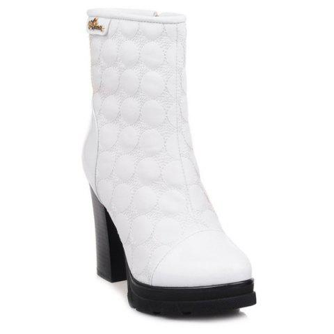 Dots Patent Leather Panel Chunky Heel Boots - White - 37