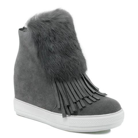 Outfits Fringe Furry Hidden Wedge Boots GRAY 39