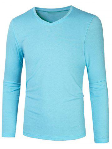 Shops Slim Fit V Neck Long Sleeve T-Shirt AZURE 2XL