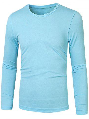 Best Plain Round Neck Basic T Shirt AZURE 2XL