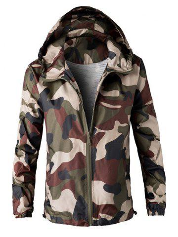 Fancy Zip Up Hooded Camouflage Lightweight Jacket ARMY GREEN 4XL