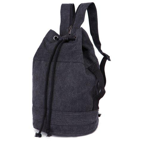 Hot String Zippers Canvas Backpack BLACK