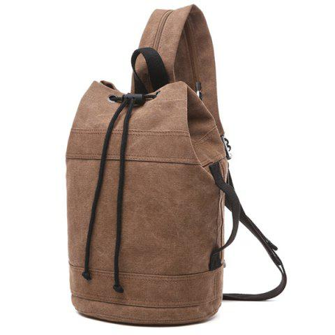 Affordable String Zippers Canvas Backpack - COFFEE  Mobile