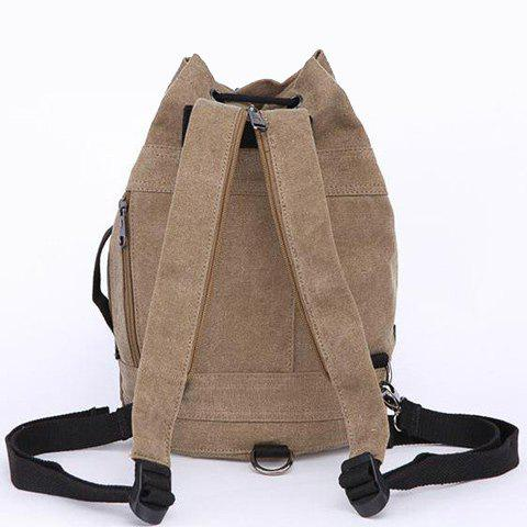 Fancy String Zippers Canvas Backpack - COFFEE  Mobile