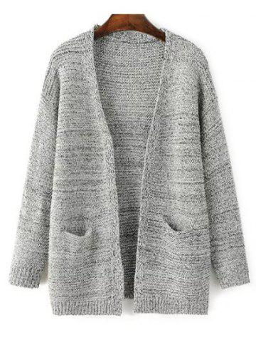 Buy Open Front Knitted Cardigan with Pockets GRAY ONE SIZE