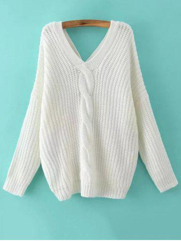 Unique V Neck Cable Knit Sweater with Back Buttons WHITE L