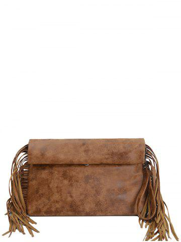 Outfit PU Leather Fringe Roll Over Clutch Bag