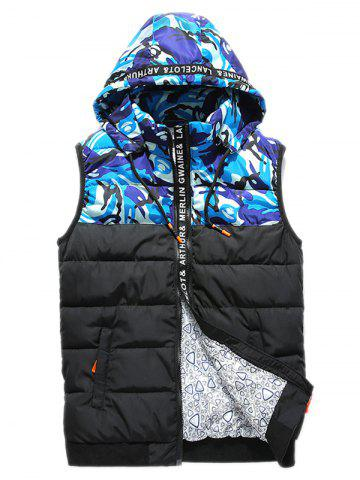 Best Zip Up Camo Panel Hooded Vest BLUE 2XL