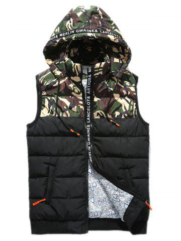 Buy Zip Up Camo Panel Hooded Vest - 3XL GREEN Mobile
