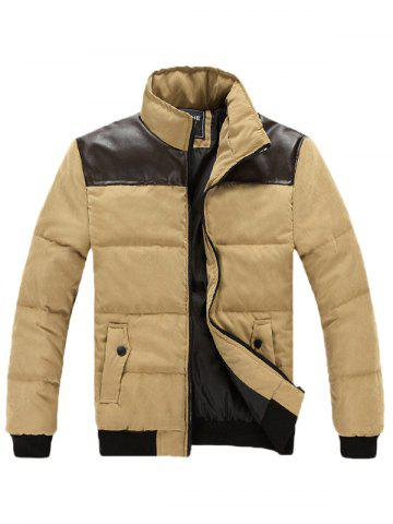 Outfit Stand Collar PU Spliced Padded Jacket
