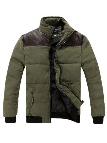 Cheap Stand Collar PU Spliced Padded Jacket ARMY GREEN L