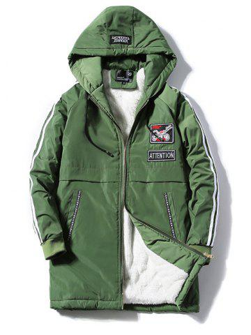 Trendy Patch Design Zip Up Striped Hooded Padded Coat