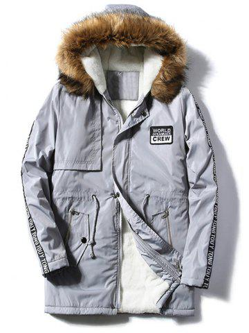 Fashion Patch Design Zip Up Fur Hooded Coat GRAY 4XL