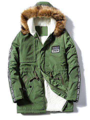 Patch Design Zip Up Fur Hooded Coat - Army Green - 2xl