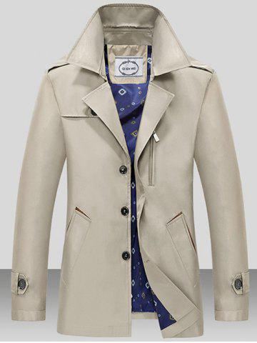 Hot Turndown Collar Single Breasted Epaulet Wind Coat LIGHT KHAKI 2XL
