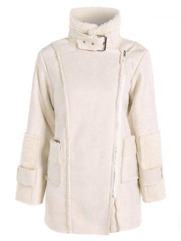 Sherpa Fleece Faux Suede Coat - Off-white - S