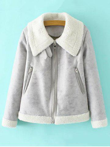 Trendy PU Leather Faux Shearling Jacket GRAY L