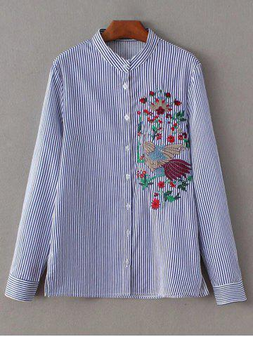Store Stand Neck Striped Embroidered Shirt