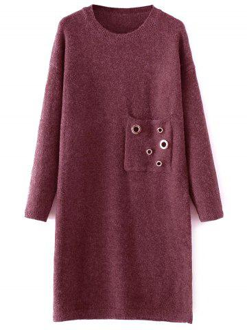 Hot Jewel Neck Sweater Dress with Pocket