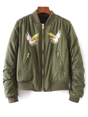 Affordable Quilted Souvenir Bomber Jacket ARMY GREEN L