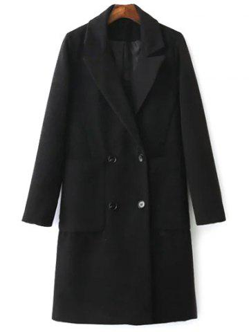 Lapel Collar Back Slit Peacoat - Black - M