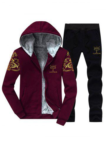 Buy Printed Flocking Hoodie and Drawstring Pants Twinset BURGUNDY 4XL