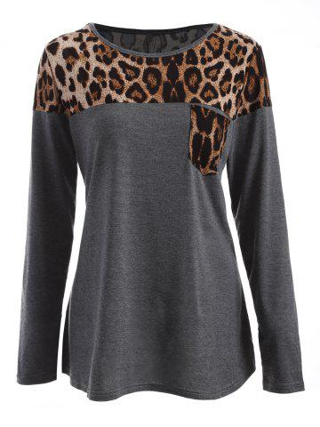 Chic Leopard Print Long Sleeve Tee GRAY XL