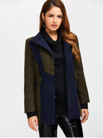 Discount Asymmetrical Color Block Wool Blend Coat - S ARMY GREEN Mobile