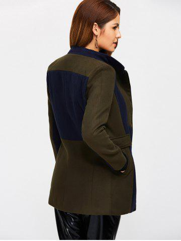 Store Asymmetrical Color Block Wool Blend Coat - S ARMY GREEN Mobile