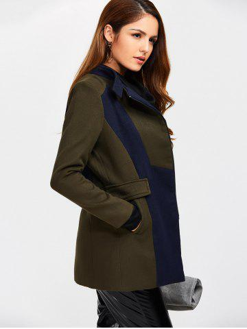 New Asymmetrical Color Block Wool Blend Coat - S ARMY GREEN Mobile