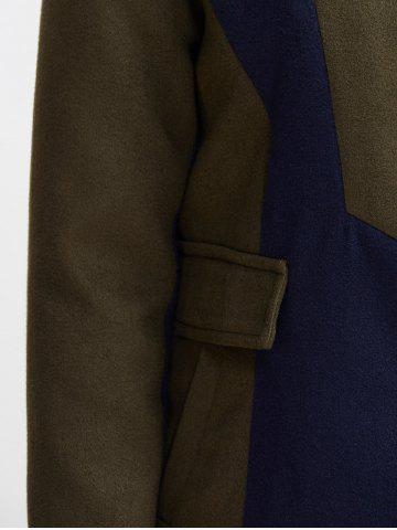Buy Asymmetrical Color Block Wool Blend Coat - S ARMY GREEN Mobile