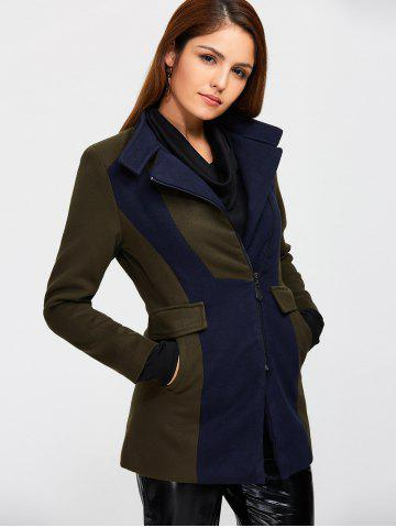 Affordable Asymmetrical Color Block Wool Blend Coat - S ARMY GREEN Mobile