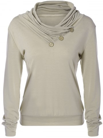 Store Cowl Neck Long Sleeve Button Tee