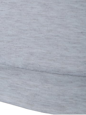Hot Cowl Neck Long Sleeve Button Tee - L LIGHT GRAY Mobile