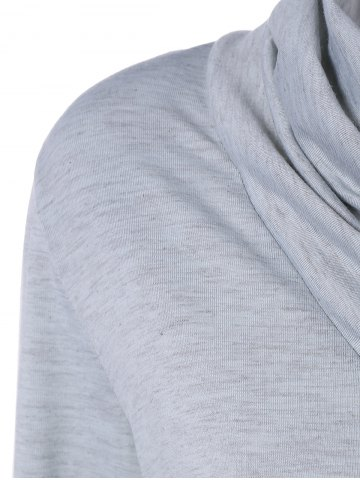 Store Cowl Neck Long Sleeve Button Tee - L LIGHT GRAY Mobile