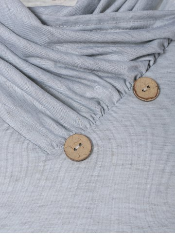 New Cowl Neck Long Sleeve Button Tee - L LIGHT GRAY Mobile