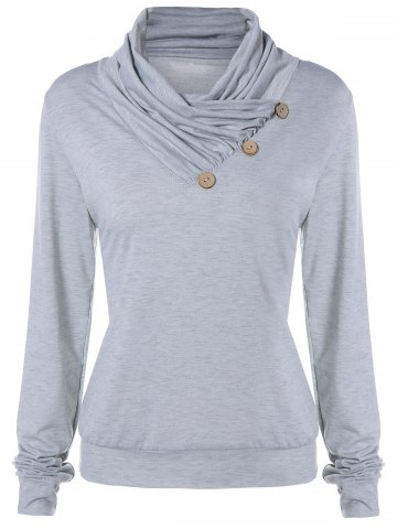 Fashion Cowl Neck Long Sleeve Button Tee LIGHT GRAY L