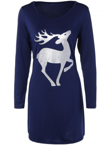 Online Christmas Deer Patched Fitted T-Shirt Dress