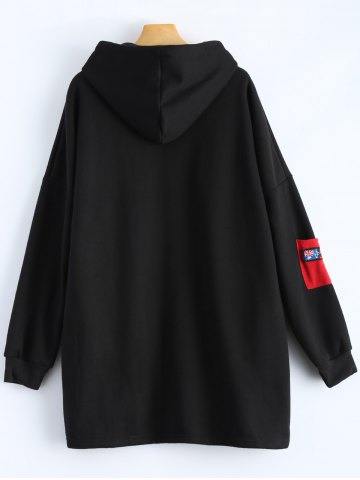 Cheap Patchwork Plus Size Hooded Zip Up String Coat - XL BLACK Mobile