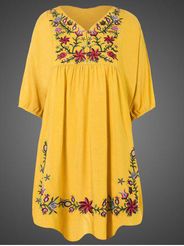 Discount Plus Size Embroidered Casual Tunic Dress With Short Sleeves YELLOW ONE SIZE