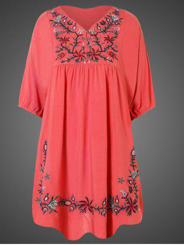 Outfit Plus Size Embroidered Casual Tunic Dress With Short Sleeves
