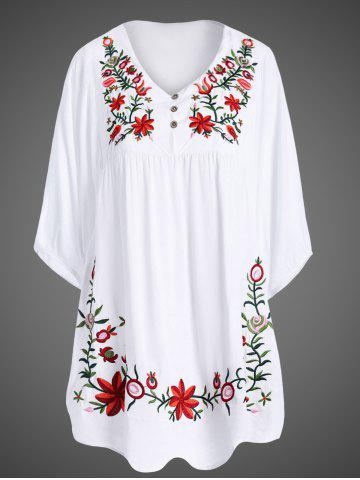 Shop Plus Size Embroidered Casual Tunic Dress With Short Sleeves WHITE ONE SIZE