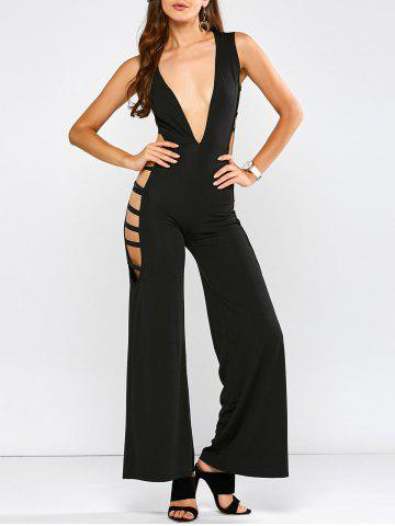 Sleeveless Plunge Cut Out Jumpsuit - Black - S